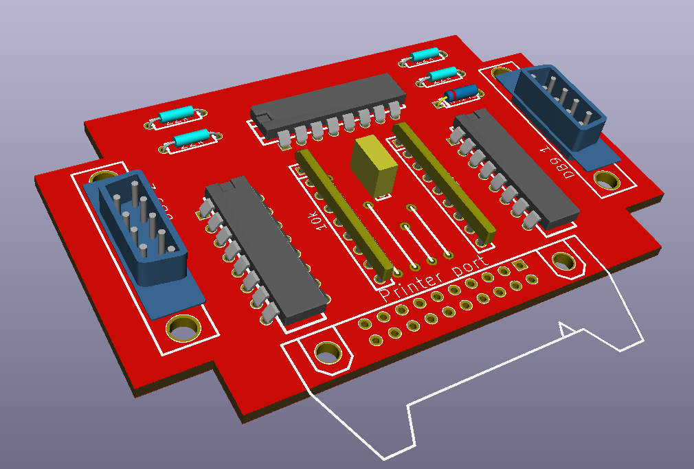 PCB components side.
